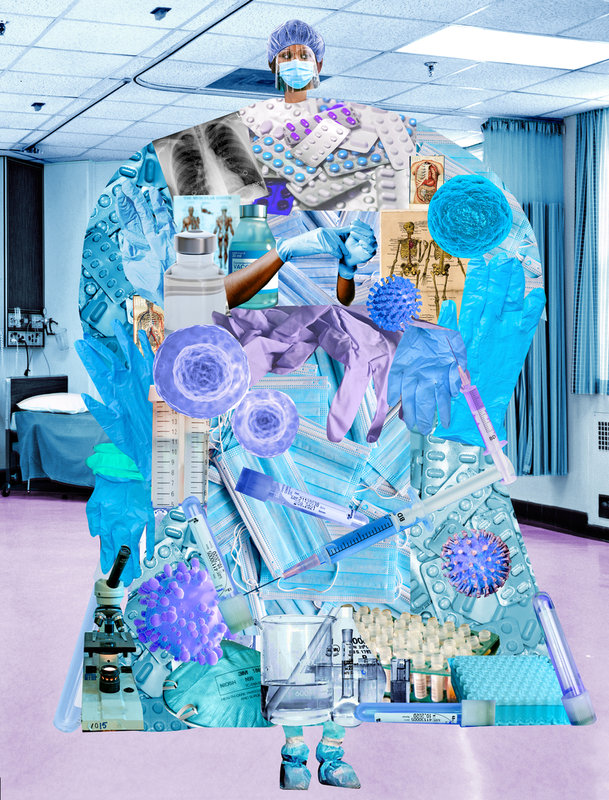 A collage image that is meant to depict a nurse. The face is the photo of a Black woman wearing full PPE (hair covering, face shield, mask). The body is an oversized collage of various blue PPE items as well as a few COVID molecules. She is in a hospital.