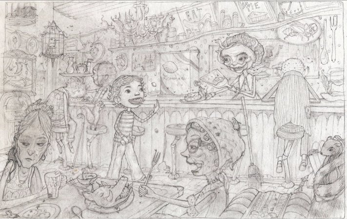 Concept Drawing for Inside the Slidy Diner