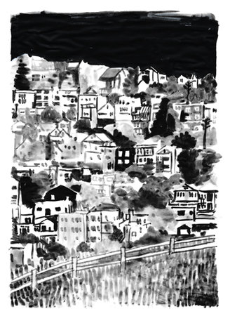 kite hill, san francisco, ink on vellum