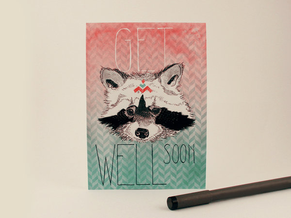 Racoon: Get Well Soon Card