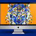 iMac Tiger Beer orange background.