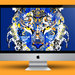 iMac Tiger Beer blue background.