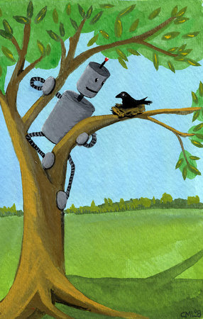 rotm robot tree climber with baby crow